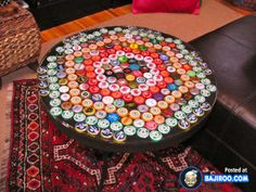 DIY Bottle Cap Table --- i have a table already. need to drink more beer for caps! Beer Bottle Caps, Bottle Cap Art, Beer Caps, Beer Pong, Bottle Cap Projects, Bottle Cap Crafts, Diy Bottle, Bottle Vase, Old Bottles
