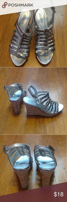 Guess strappy metallic wedges Gorgeous silver strappy wedges pair great with dresses or jeggings. Perfect for date night or a night out with your girls! Silver all over with cork wedges. Guess Shoes Wedges