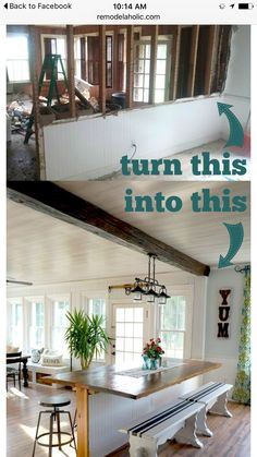 DIY Built in Breakfast Bar or dining table. This dining area makeover is a great way to add extra seating. Need a breakfast bar area like this, cut down a wall into a half wall and add a tabletop. Remodeling Mobile Homes, Home Remodeling, Kitchen Remodeling, Mobile Home Renovations, Bar Dining Table, Dining Area, Dining Room, Living Room Kitchen, Design Case