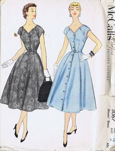 """VINTAGE DRESS 1 PC SEWING PATTERN 50s MCCALL'S 3067 SIZE 18 BUST 36 HIP 39"""" UNCUT 