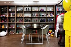 Toy cubbies - office photos of Tatsuhiko Akashi CEO of Medicom toy by the selby Toy Display, Shelving Display, Display Cabinets, Display Cases, Display Ideas, Lego Room, Hobby Room, Interior Decorating, Interior Design