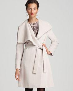 make shawl colar wrap coat   Calvin Klein Premium Shawl Collar Belted Coat in White (flax)
