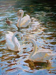 Beautiful painting by artist Maria Shterbinina Paintings Photo Reference, Beautiful Paintings, Swan, Watercolor Art, Sewing Crafts, Cross Stitch, Bird, Pastels, Art Ideas