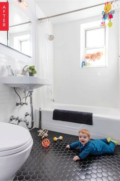 """This NYC bathroom went from dingy """"sunburn"""" orange stripes to clean white subway tile with modern lines. This streamlined space is now ideal with built-in storage and crisp features. Contemporary Home Decor, Unique Home Decor, Cheap Home Decor, Bathroom Renovations, Bathroom Ideas, 1920s Bathroom, Bathroom Black, Bathroom Inspo, Bath Ideas"""