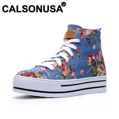 Aliexpress.com : Buy Calsonusa Brand 2013 Fashion Floral Womens high top new designer Canvas Shoes Breathable Height Increasing casual Sneakers from Reliable floral canvas Sneakers suppliers on CALSONUSA $40.00