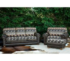 Rustic Cabin 3 pc. group Sofa, Oversized Chair and Ottoman Oversized Chair And Ottoman, Love Seat, Sofa, Cabin, Light Shades, Rustic Furniture, Armchair, Leather, Home Decor