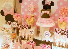 Minnie Mouse birthday party dessert table! See more party ideas at CatchMyParty.com!