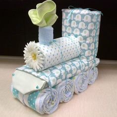 Train Diaper Cake Unique Baby Shower Gift by whimseycraft on Etsy, $65.00