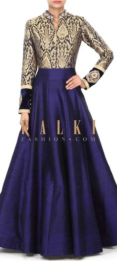 Buy Online from the link below. We ship worldwide (Free Shipping over US$100) Price-$399 Click Anywhere to Tag http://www.kalkifashion.com/navy-blue-gown-adorn-in-brocade-with-embroidered-collar-only-on-kalki.html