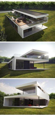 Modern Exterior House Designs, Modern Villa Design, Dream House Exterior, Modern Architecture House, Exterior Design, Luxury Homes Dream Houses, House Front Design, Container House Design, Dream Home Design