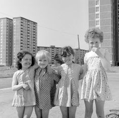 Four little girls in the shadow of the Ballymun tower blocks. Dublin Street, Dublin City, Ireland Pictures, Urban Cowboy, Tower Block, Ireland Homes, Brave New World, 1960s Fashion, Old Photos