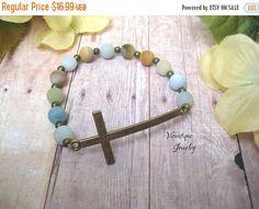 ON SALE Cross Bracelet Sideways Cross Bracelet Gemstone