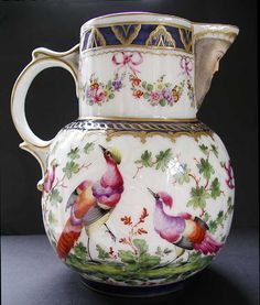 PARIS PORCELAIN, 'WORCESTER' STYLE MASK JUG - PROBABLY MADE BY SAMSON OF PARIS C.1880-1900