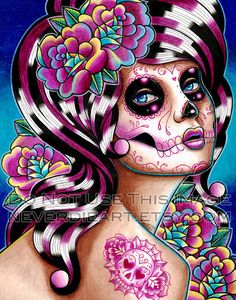 Day of the Dead Art  Signed Print  Benumbed  Sugar door NeverDieArt