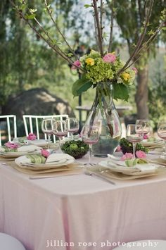 pink and green wedding table