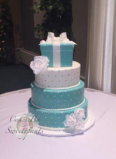Tiffany inspired wedding cake.  Pearl border, white, wafer paper roses, Tiffany blue marshmallow fondant