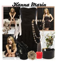 """""""Pretty Little Liars- Hanna Marin"""" by bubblegumlove ❤ liked on Polyvore featuring Alexander McQueen, Marc by Marc Jacobs, OPI, Dorothy Perkins, platform heels, strapless dresses, feather earrings, nail polish, leather cuffs and beaded necklace"""