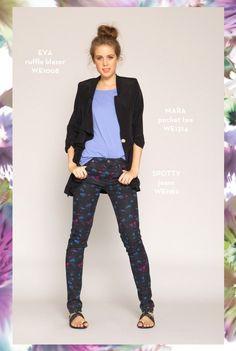 Eva Ruffle Blazer, Mara Pocket Tee, and Spotty Jeans. http://www.whitneyeve.com/