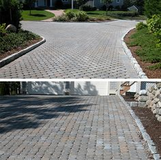 Eco-Stone Pavers allow maximum drainage and migration of water into the earth below while maintaining a driveable surface. Retaining Wall Pavers, Cape Cod Ma, Manufactured Stone, Nantucket, Sidewalk, Earth, Garden, Water, Gripe Water