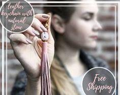 Leather tassel, quartz, leather tassels, tassel keychain, leather keychain, tassel boho bag, rose quartz necklace, leather tassel gifts