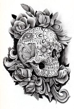 This is a day of the dead skull I did for a client. He didn't like the drawing. I think it was to feminine for him.