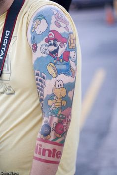 Epic Super Mario Tattoo. My man friend can have this. Especially in 8-bit
