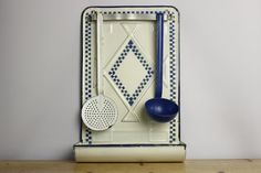 french country kitchen. French Vintage Enamel Utensil Rack and Utensils....Shabby Chic.