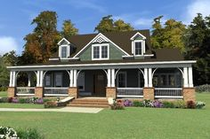 House Plan 63-404, love the covered and large porch! Love the gallery, I like the idea of having the upstairs open to the downstairs, there is also a large space upstairs for maybe a rec room.