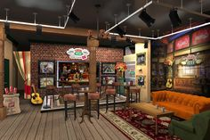 The coffee shop will feature actual props from the show, including the iconic orange couch where fans can have their pics taken. Description from brandflakesforbreakfast.com. I searched for this on bing.com/images