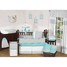 @Overstock - This designer crib bedding set uses a sensational collection of Sweet Jojo Designs and exclusive 100-percent cotton fabrics. It boasts a modern grey and white Zig Zag print combined with turquoise and white color accents.http://www.overstock.com/Baby/Sweet-JoJo-Designs-Grey-and-Turquoise-Zig-Zag-9-Piece-Crib-Bedding-Set/7608619/product.html?CID=214117 $189.99