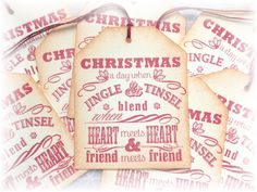Christmas - Family and Friends - Heart to Heart- Gift/Hang Tags (8) by HeartsCalling on Etsy