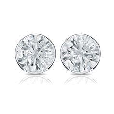 Auriya 14k Gold 3/5ct TDW Bezel Push-Back Round Diamond Stud Earrings