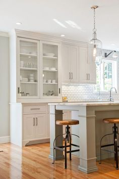 Doors - kitchens - shaker kitchen, gray kitchen island, nickel cabinet pulls, built in kitchen hutch, kitchen hutch, glass