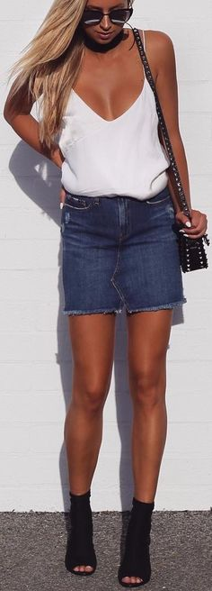 what to wear with a denim skirt