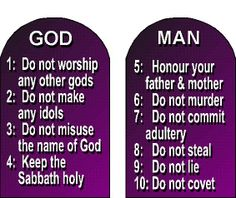 The first four of the ten commandments deal with our relationship with God while the last six deal with our relationship with others.