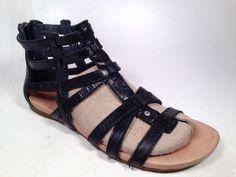 UGG Australia Black Leather Shoe Gladiator Strappy Flats Sandal Women's Sz 8 #UGGAustralia #Gladiator #Casual
