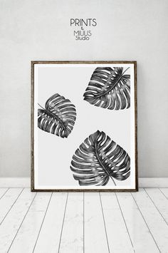 Monstera Leaf Tropical Wall Art Print by PrintsMiuusStudio on Etsy