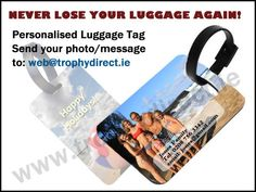 PERSONALISED LUGGAGE TAG WITH STRAP - FULL GLOSSY COLOUR PERSONALISED BAG TAG