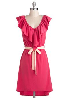 Great Minds Pink Alike Dress - Mid-length, Pink, Ruffles, Belted, Casual, A-line, V Neck, Daytime Party