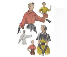 Vintage jaren 1950 Advance patroon omvat vrouwen bolero jasje met korte of pols-lengte mouwen en korte cape. Beide hebben kragen en één front knop aan de hals.  De envelop toont aan leeftijd-gerelateerde verkleuring en slijtage op de hoeken en randen, en enkele kleine tranen.  De patroon stukken worden niet gemarkeerd, die een gebruikelijk was voor de Europese onderzoekruimte. Geponste gaten worden gebruikt als aanduiding van de stukken. Het is gebruikt, en alle stukken aanwezig zijn en in…