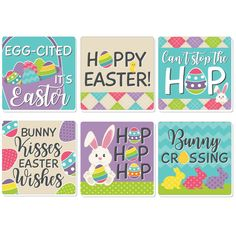 Hippity Hoppity Coasters INCLUDE 6 sturdy and professionally printed single-sided Drink Coasters. Protect your table or desk with funny Easter Coasters. DRINK COASTER SET: This set of 6 Coasters has a different funny Easter saying for each coaster including Egg-cited It's Easter, Hoppy Easter!, Can't Stop the Hop, Bunny Kisses Easter Wishes, Hop, Hop, Hop and Bunny Crossing. Use the Coasters for hot/cold drinks to protect furniture and tabletops from drips, spills, and condensation. FUN PARTY FA Funny Easter Bunny, Easter Bunny Eggs, Hoppy Easter, Bunny Party, Easter Party, Rainbow Party Decorations, Lawn Decorations, Easter Quotes, Easter Sayings