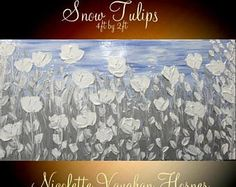 SALE XLarge Abstract painting,Original comtemporary Art,Snow Tulips,lots of texture Ready to hang  by Nicolette Vaughan Horner 48x24
