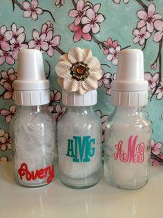 Monogram Sticker for Baby Bottles by VforVinyl on Etsy