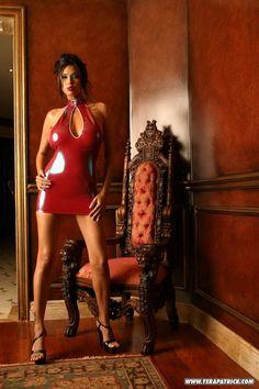 Tera Patrick Red latex dress