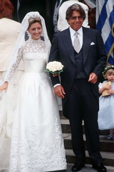 Princess Marie-Chantal of Greece (pictured with her father) wore a Valentino gown for her wedding to Prince Pavlos in July From Princess Diana to Queen Letizia, take a look back at the evolution of royal bridal looks. Celebrity Wedding Gowns, Royal Wedding Gowns, Royal Weddings, Celebrity Dresses, Lace Wedding, Wedding Rings, Wedding Looks, Bridal Looks, Bridal Style