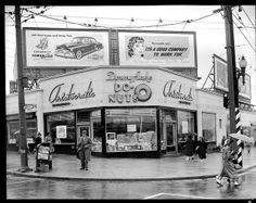 Downyflake Donuts taken Sept. 1951 in Vancouver. Public Library special collection of historical photos: 'Happy Birthday Aristocratics' by Artray. It shows the Aristocratic restaurant at the corner of Broadway and Granville. Granville Street, Vancouver Bc Canada, Vancouver Island, Western Canada, Photographic Studio, Old Photos, Vintage Photos, Historical Photos, British Columbia