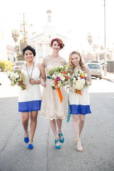 color block bridesmaid dresses