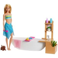 Check out the Barbie Fizzy Bath Doll and Play Set featuring role play accessories. Explore more playsets at our Barbie shop today! Mattel Barbie, Barbie Dolls, Barbie Horse, Barbie Kids, Bath Doll, Barbie Bath, Barbie Fashionista, Girl Hair Colors, Bathtub