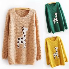 Sweet Round Neck Cute Giraffe Print Loose Fit Long Sleeve Christmas Sweater For Women (YELLOW,ONE SIZE) China Wholesale - Sammydress.com