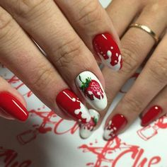 Strawberries and cream nail idea